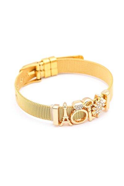 Chavin Kadın Gold Örgü Hasır Charm Taşlı  Çelik Bileklik ec96sr