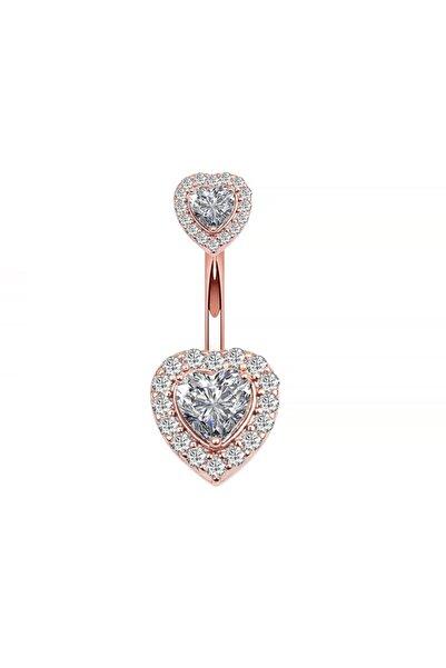 Chavin Kadın Rose Çift Kalp Taşlı Komple Taşlı Göbek Piercing Eg58rs