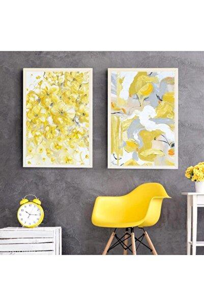 LiliaHome 24x33 Cm 2li Yellow Fans Beyaz Çerçeve Seti