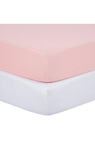 Eflatun Pembe-Beyaz Bebek Lastikli 70x140 Pamuklu Penye Çarşaf 2'li