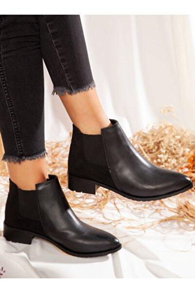 ayakkabıhavuzu Kadın Siyah Bot Cilt