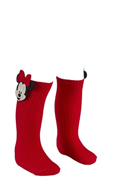 BEBEĞİME ÇORAP Mickey Figürlü Dizaltı Kız Bebek Çorabı / Kız Çocuk Çorabı