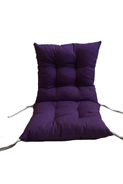 OBTech Duck Kumaş Arkalıklı Sandalye Minderi Sandalye Yastığı 4 Adet Mor