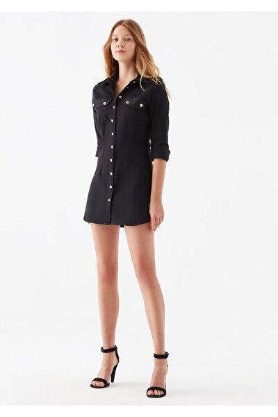 Mavi Kadın Siyah Cepli Gömlek Elbise