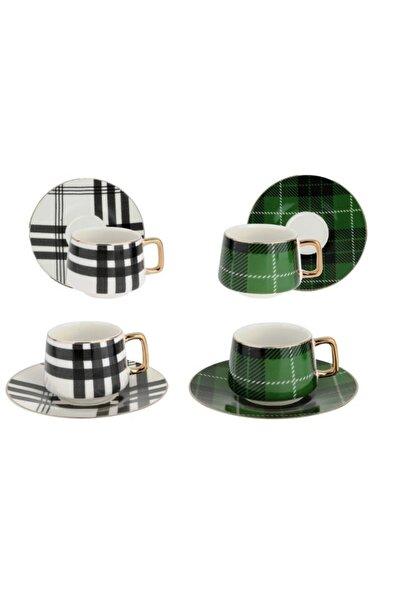 Lucky Art Thalia Yeşil - Beyaz 6lı Bone Kahve Fincan Seti