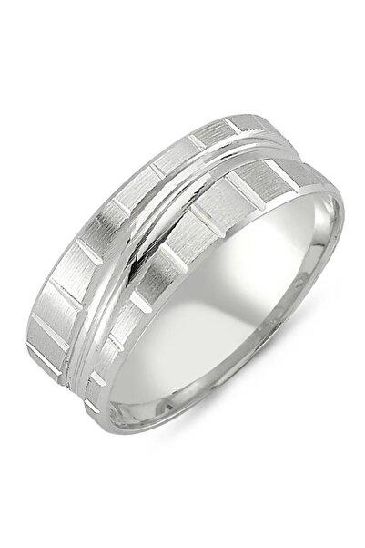 Takı Dükkanı Erkek Mat Çapraz Çizgili Gümüş Alyans Söz Nişan Yüzüğü dga06-1