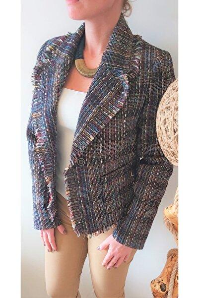 Sakura Kadın Renkli Püskül Detay Blazer Ceket