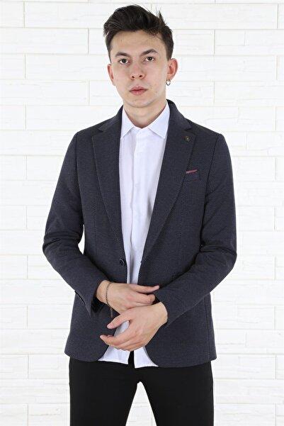 Arlin Erkek Tek Düğmeli Cepli Blazer Slim Fit Mavi Ceket