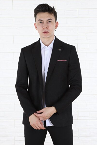 Arlin Erkek Tek Düğmeli Cepli Blazer Siyah Ceket