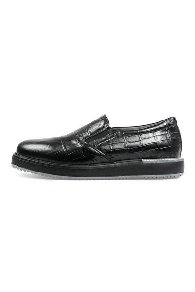 Flower Siyah Deri Erkek Günlük Ayakkabı