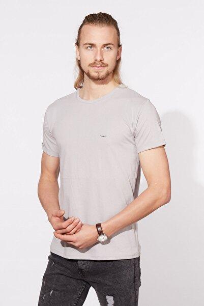 BARRELS AND OIL Basic Kartal Baskılı T-shirt-gri