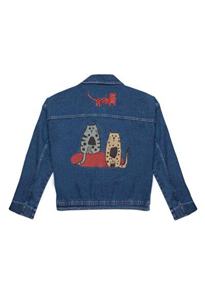 Biggdesign Kadın Lacivert Cats Kot Ceket