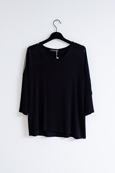 Lafaba Kadın Siyah Büyük Beden Tüllü Bluz