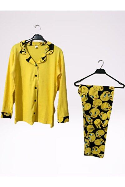 TWEETY Kadın Pamuklu  Sarı Önden Düğmeli Pijama Takım