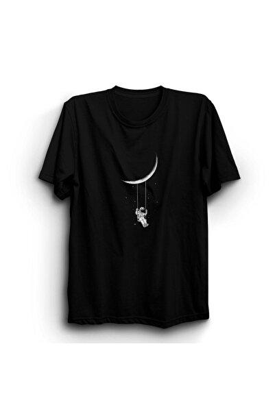 Rosy Wear Unisex Siyah Astronot Uzay Ay Nasa Tişört