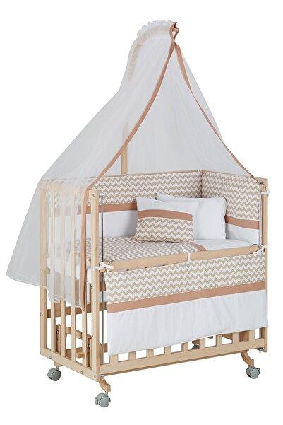Babycom Anne Yanı Naturel Boyasız 50*90 Ahşap Beşik - Tekerlekli + Kahve Zikzak Uyku Seti