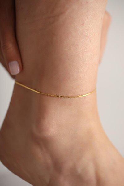 İzla Design Tilki Kuyruğu Model Altın Kaplama Gümüş İtalyan Halhal