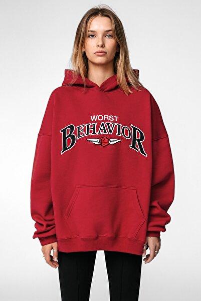 Madmext Kadın Kırmızı Girls Sweatshirt Mg853