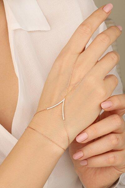 Lia Berto Kadın Rose Zirkon Taşlı V Model 925 Ayar Gümüş Şahmeran