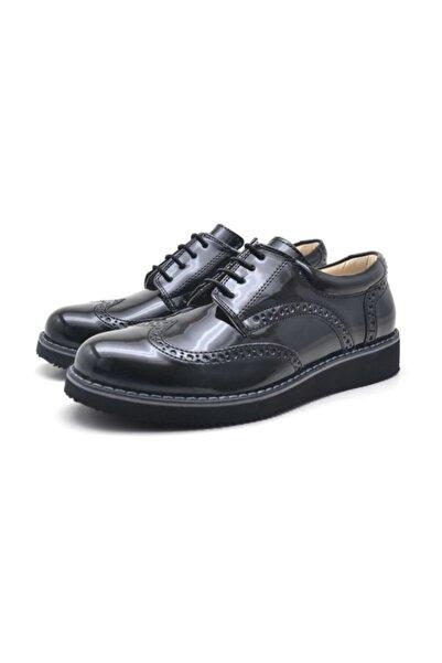 Papuccum Ortopedi Unisex Çocuk Siyah Oxford Bağcıklı Ayakkabı