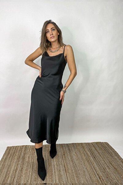 Bunu Gönder Kadın Siyah Ayarlanabilir Askılı Degaje Yaka Midi Boy Saten Elbise