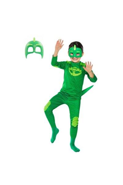 Pj Maskeliler Pijamaskeliler Kertenkele Çocuk Kostüm - Tulum + 2 Adet Maske Set -gekko Owlette Catboy