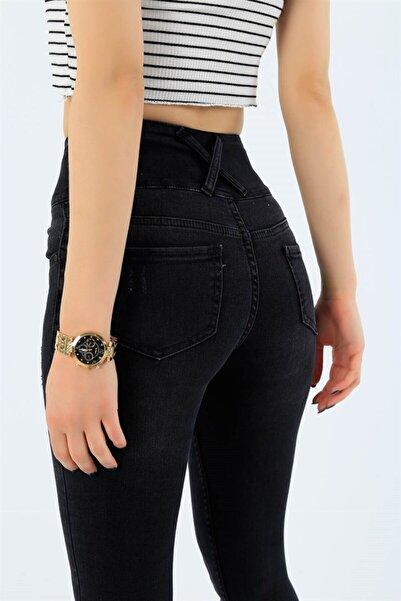 JANES Kadın Siyah Yüksek Bel Jean Likralı Pantolon