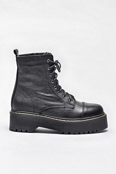 Elle Shoes Siyah Hakiki Deri Kadın Düz Bot