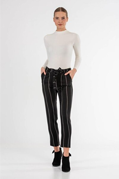 Modkofoni Kuşaklı Çizgili Siyah Bilek Pantolon