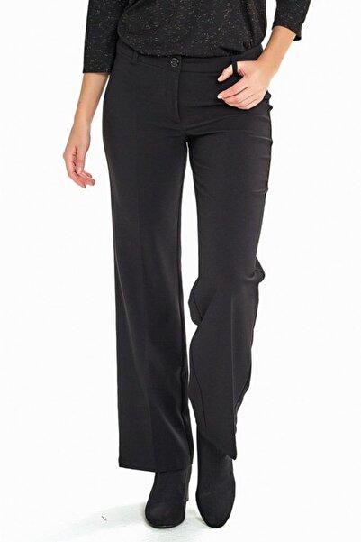 İKİLER Kadın Siyah Klasik Bol Paça Pantolon