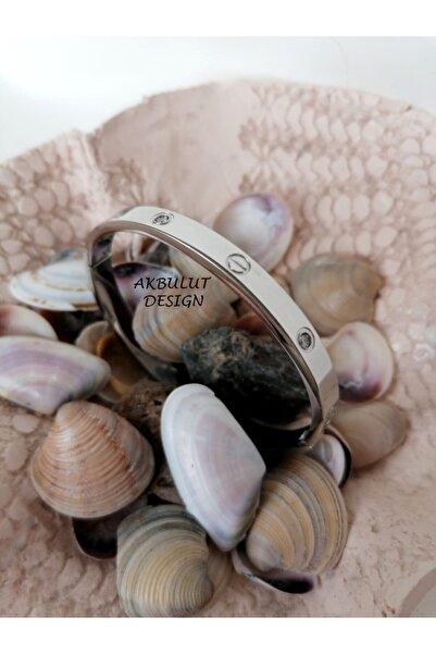 Cartier Model Zirkon Taşlı Kalın Paslanmaz Çelik Bileklik (Örme Bileklik Hediyelidir.)