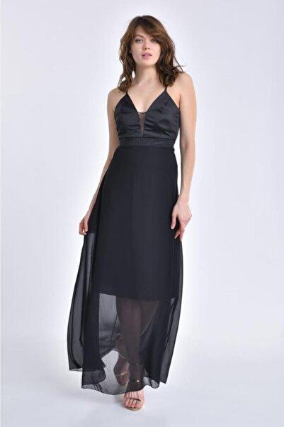 Modkofoni Askılı Sırt Detaylı Ve Taşlı Siyah Abiye Elbise