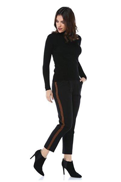 Modkofoni Deri Şeritli Siyah Bilek Pantolon