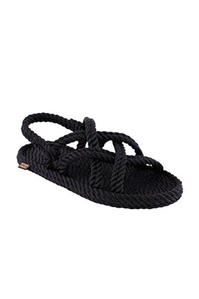 Nomadic Republic Bodrum Kadın Halat Sandalet - Siyah