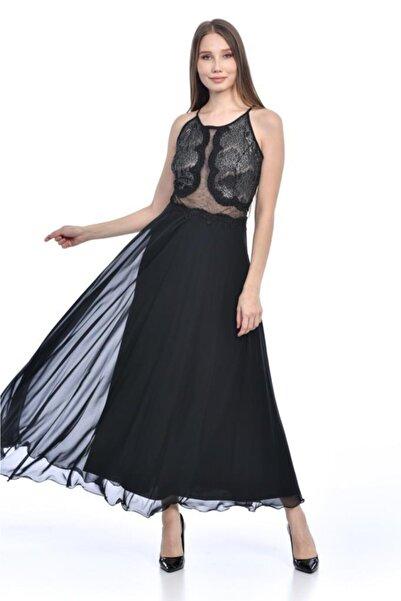 Modkofoni Askılı Göğüs Dantel Detaylı Astarlı Siyah Abiye Elbise
