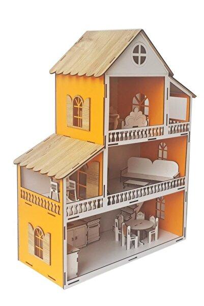 WoodyLife Turuncu Ev Çocuk Evcilik Oyuncak Montessori Barbi Ev