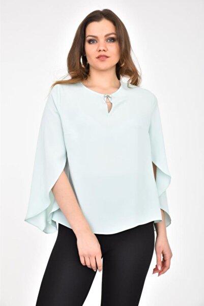 Modkofoni V Yaka Taş Ve Incili Broş Detaylı Uzun Kollu Mint Bluz