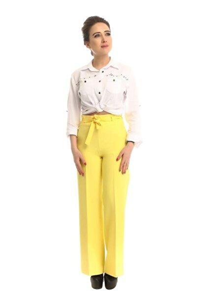 Modkofoni Kuşaklı Bol Paça Sarı Pantolon