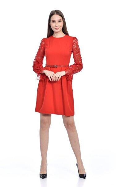 Modkofoni Kolları Dantelli Bisiklet Yaka Pileli Kırmızı Abiye Elbise