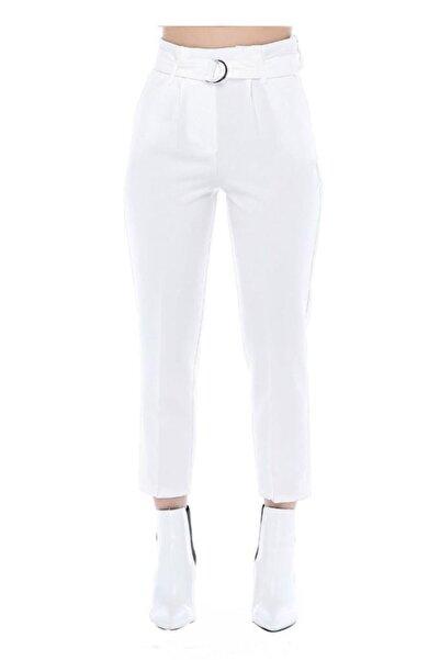 Modkofoni Yüksek Bel Tokalı Beyaz Bilek Pantolon