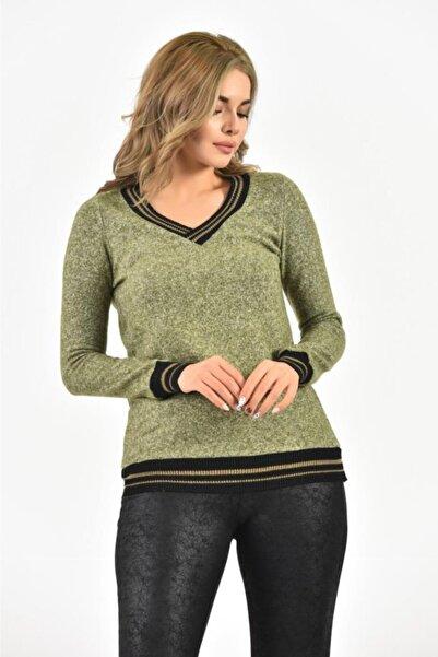 Modkofoni V Yaka Uzun Kollu Örme Ince Yeşil Bluz
