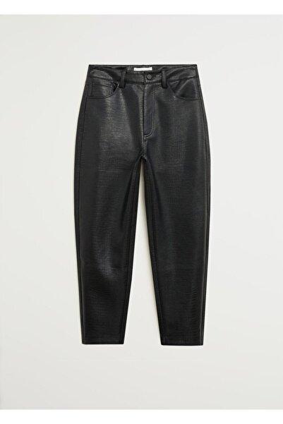 MANGO Woman Kadın Siyah Kısa Paçalı Dokuma Pantolon 67094421