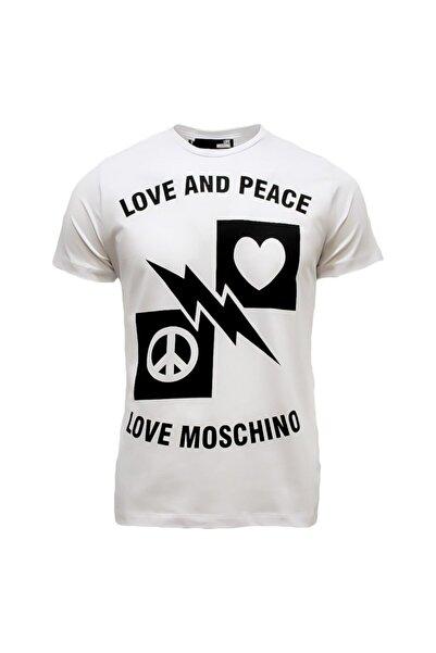 Love Moschino Erkek Bisiklet Yaka Slim Fit Baskılı Beyaz T-shirt