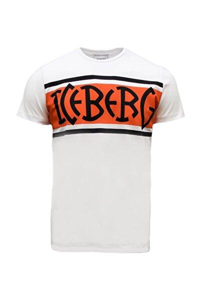 Iceberg Erkek Bisiklet Yaka Slim Fit Logo Baskıl Beyaz T-shirt