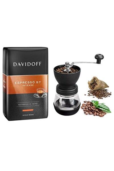 Davidoff Espresso 57 Intense Çekirdek Kahve 500 gr + Seramik Kahve Değirmeni Öğütücü