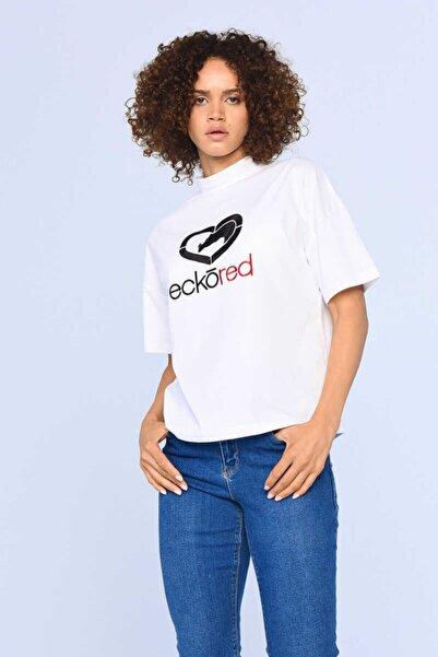ECKO UNLTD ECKO RED TILSE Beyaz Kadın Baskılı Dik Yaka Tshirt