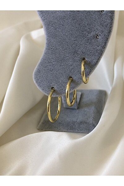 The Y Jewelry Kadın Altın Renk Halka Küpe 3'lü