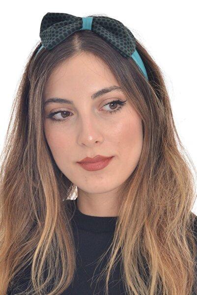 hahai accessories Kadın Lastikli Puantiyeli Turkuaz Tonlamalı Saç Bandı