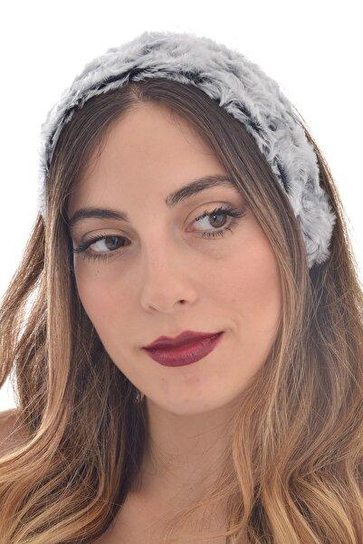 hahai accessories Kadın Lastikli Girdap Desenli Gri Tonlamalı Geniş Saç Bandı