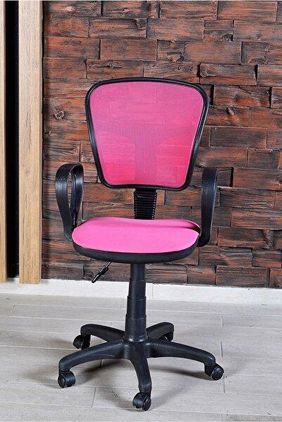 Aldın Aldın Sandalye Ofis Ev Sekreter Pc Koltuğu Fileli Pembe